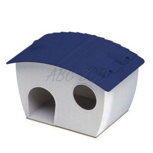 Domček pre škrečka - plastový, modrá strecha, 14x9,5x8,8 cm