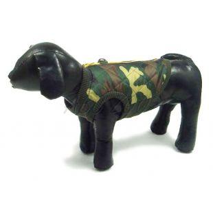 Bunda pre psa - elastický tmavý maskáč, L