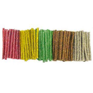 Tyčinky pre psov z hovädzej kože, farebné - 100 ks