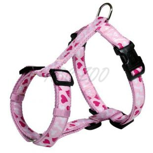 Postroj pre psov s motívom, ružový S-M, 40-65cm