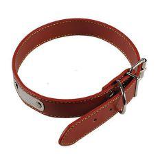 Kožený obojok pre psa - hnedý, 35 cm