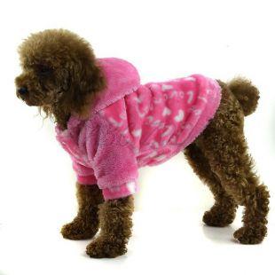 Kabátik pre psa - ružový s kapucňou, M