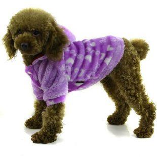 Kabátik pre psa - fialový s kapucňou, L