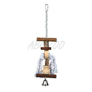 Hračka pre vtáky s drevom a lanom - 38cm