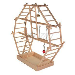 Hračka pre papagáje - drevená preliezka, 44x44x16cm