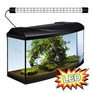 Akvárium STARTUP 80 LED EXPERT 17W - OBLÚK - ČIERNE