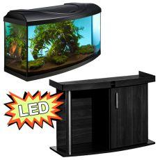 Akvárium STARTUP 80 LED EXPERT 17W - oblé + stolík COMFORT čierny