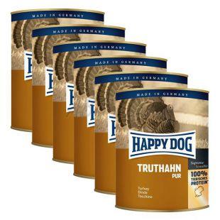 Happy Dog Pur - Truthahn/morka, 6 x 800g, 5+1 GRATIS