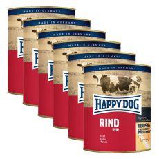 Happy Dog Pur - Rind/hovädzie, 6 x 800g, 5+1 GRATIS