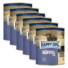 Happy Dog Pur - Büffel/byvolie mäso, 6 x 800g, 5+1 GRATIS