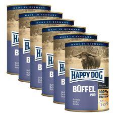 Happy Dog Pur - Büffel/byvolie mäso, 6 x 400g, 5+1 GRATIS