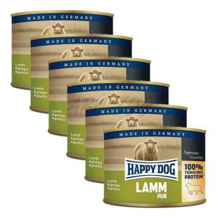 Happy Dog Pur - Lamm/jahňacie, 6 x 200g, 5+1 GRATIS