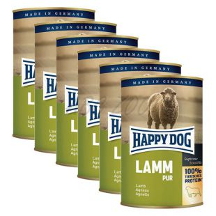 Happy Dog Pur - Lamm/jahňacie, 6 x 400g, 5+1 GRATIS