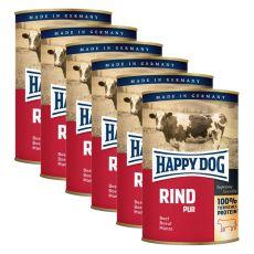 Happy Dog Pur - Rind/hovädzie, 6 x 400g, 5+1 GRATIS