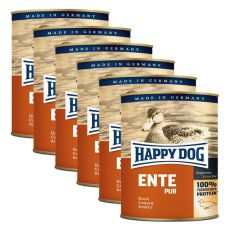 Happy Dog Pur - Ente/kačka, 6 x 800g, 5+1 GRATIS