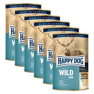 Happy Dog Pur - Wild/divina, 6 x 400g, 5+1 GRATIS