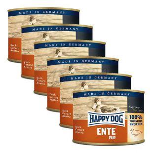 Happy Dog Pur - Ente/kačka, 6 x 200g, 5+1 GRATIS