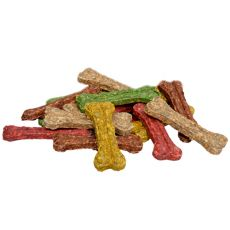 Kosť pre psov z hovädzej kože - farebná 20 cm - 20 ks