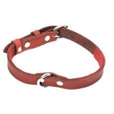 Kožený obojok pre psa - červený, 1,6 x 29-38cm
