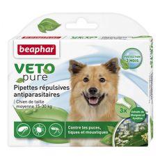 Kvapky proti hmyzu pre stredných psov, prírodné - 3 ks