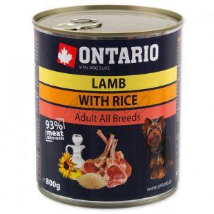 Konzerva ONTARIO pre psa, jahňacie, ryža a olej - 800g