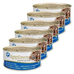 Applaws Cat - konzerva pre mačky s tuniakom a krabom, 6 x 70g