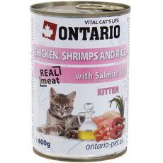 ONTARIO Kitten Konzerva - kuracie, krevety, ryža a olej - 400 g