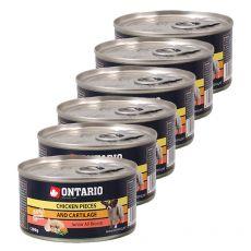 Konzerva ONTARIO Junior pre psa, kuracie kúsky + chrupavky, 6 x 200g