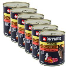 Konzerva ONTARIO pre psa, zverina, brusnice a olej - 6x800g