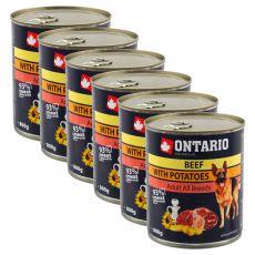 Konzerva ONTARIO pre psa, hovädzie, zemiaky a olej - 6 x 800g