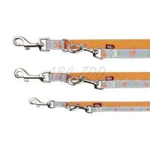 Vodítko pre psa, oranžové - reflexné s labkami, M-L 2m