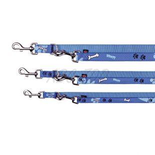 Vodítko pre psa, modré so vzorom, nastaviteľné L/XL - 2m