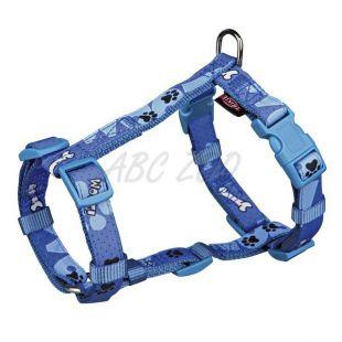 Postroj pre psy, modrý so vzorom XS - S, 30 - 40 cm