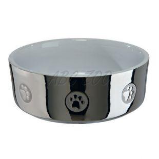 Keramická miska pre psov, strieborná - 0,3 L