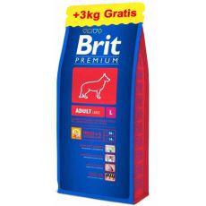 Brit Premium Adult Large 15kg + 3kg GRATIS
