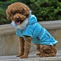 Bunda pre psa s imitáciou vreciek na zips - modrá, XS