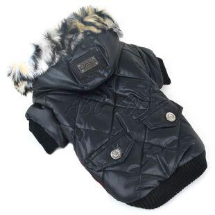 Bunda pre psa s kožušinkou - čierna, XL
