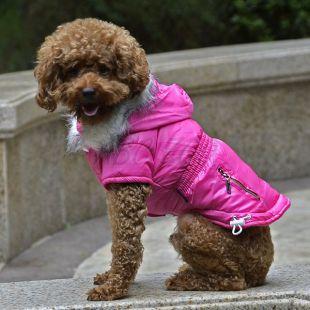 Bunda pre psa s imitáciou vreciek na zips - ružová, XL