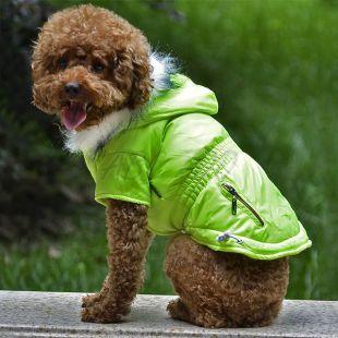 Bunda pre psa s imitáciou vreciek na zips - neónovo zelená, XL