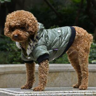 Bunda pre psa s kožušinkou - zelená, XL