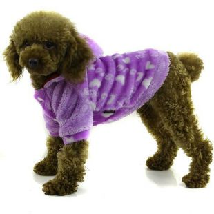 Kabátik pre psa - fialový s kapucňou, XXL