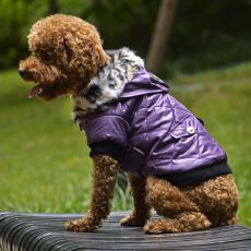 Bunda pre psa s kožušinkou - fialová, M