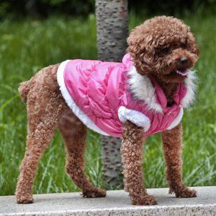 Bunda pre psa s odopínateľnou kapucňou - ružová, M