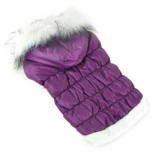 Bunda pre psa s odopínateľnou kapucňou - fialová, L