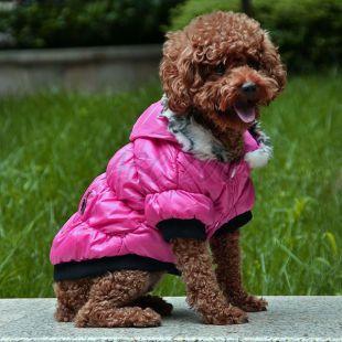 Bunda pre psa s čiernym lemovaním- ružová, L