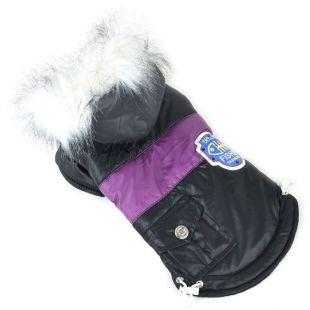 Bunda pre psa s nášivkou - čierna, XL