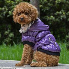 Bunda pre psa s čiernym lemovaním - fialová, XXL