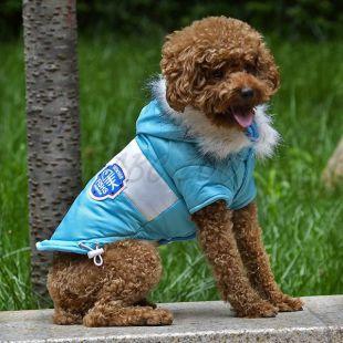 Bunda pre psa s nášivkou - modrá, M