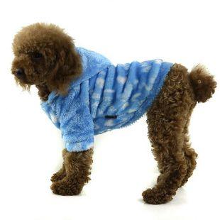 Kabátik pre psa - modrý s kapucňou, M