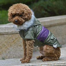 Bunda pre psa s nášivkou - zelená, XL